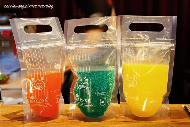 【台中逢甲美食】Mini Mapper。隱身在逢甲商圈的韓系小酒館,微醺的週末夜晚,彩色調酒隨身帶著喝 @飛天璇的口袋