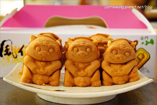 【金門必買伴手禮】金悅坊風伯燒。可愛的風獅爺造型雞蛋糕,內餡濃郁又好吃,還有特製的格格Q餅,是蟲蟲造型的唷! @飛天璇的口袋